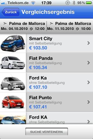 Check24 Mietwagen Vergleich App